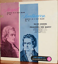 COLUMBIA UK LP 33CX 1322: MOZART BEETHOVEN Quintets - GIESEKING, etc. - 1960s UK