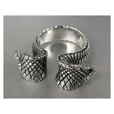 Double Headed Cobra Snake Men's Ring Super Wild - Sterling Silver.925