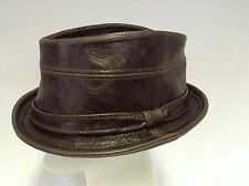 Jill Corbett leather trilby hat + band choc brown S/M/L/XL Handmade in England