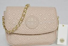 NWT! Tory Burch Marion Quilted Leather Mini Bag in Light Oak - Light Pink Color