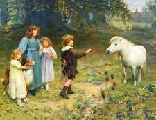 Children Collie offering apple to Pony in Meadow by John Arthur Elsley