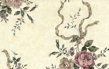 Wallpaper Shabby Chic Roses Beige Rose Green Westchester ES40054 DOUBLE ROLLS