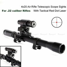 4X20 Hunting Telescopic Scope Mount for .22 caliber Rifles & Red Laser Sight Set