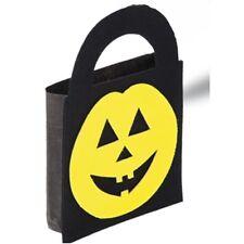 Sac à bonbons noir motifs têtes de citrouille jaune 20 x 29 cm 9citjau halloween