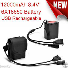 8.4V USB Rechargeable 12000mAh 6X18650 Battery Pack for Headlamp Bicycle Light