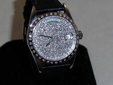 Men's  14k white Gold SWISS AUTOMATIC MOVEMENT DIAOND PAVE DIAL ALSO BEZEL