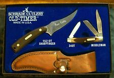 Schrade SGS-1 Knife Gift Set 152OT & 34OT Bone Daddy Incr. W/Packaging & Papers
