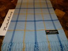 100% CASHMERE Winter Scarf 72X12 Blue Camel Scarf Check Plaid SCOTLAND Wool Q49