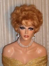 Drag Queen Costume Wig Short Sexy Light Ginger Red Teased Out with Bangs