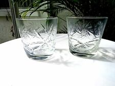Set of 2 Old Hand Cut and Polished Clear Old Fashioned Crystal Glasses c1940's