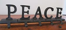 Pottery Barn PEACE word stocking Holder hanger BRONZE alphabet Christmas