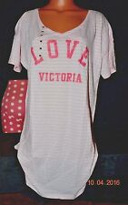 Victorias Secret Iconic Stripe LOVE Victoria Sleepshirt Night Gown Pajama NWT XL