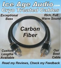 5ft-10 Gauge Cryo Treated Carbon Fiber Power Cord, Cable Audiophile, IEC, Copper