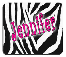 "Zebra Mouse Pad Personalize Any Text Any Color 1/4"" Thick 7-3/4"" x 9-1/4"" Zebra"