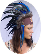 Unique Indian Headdress, Native American - Small Stone - Real Feathers - Blue