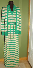 Vintage Dress Matching Sweater Gino Paoli Italy Knit Green Gold  60's *UNWORN* 8