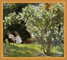 Roses. Marie Kroyer seated in the chaise longue Deckchair in the Garden jardin B a1 03058