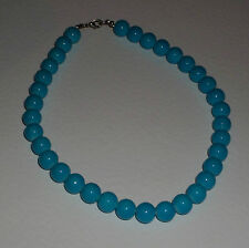 CHUNKY opaque TURQUOISE GLASS NECKLACE SILVER PLATED CLASP strand 16 INCH FRL