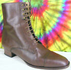 9.5 M brown leather Kenneth Cole New York lace-up cap toe ankle boots