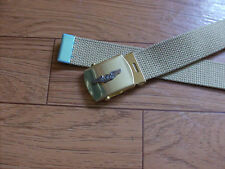 U.S MILITARY STYLE KHAKI WEB BELT WITH AIR CREW WINGS INSIGNIA BRASS BUCKLE