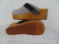 NEW SANITA 36 GRAY WOOL  OPEN BACK WOOD CLOGS WOMEN SIZE 5.5 - 6 M