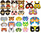 1 6 12 24 or 48 EVA FOAM MASKS Childrens Fancy Dress Farm Jungle Pirate Dinosaur