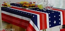 4th Printed Flag Red White Blue Fabric Tablecloth with Stars Oblong 60x84 NWT