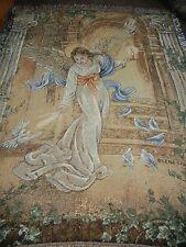 LENA LIU.ANGEL FEEDING DOVE BIRDS.WOVEN AFGHAN/THROW/BLANKET