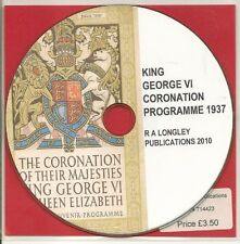 King George VI Coronation Programme 1937 [CD]