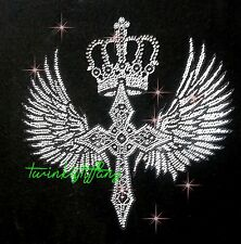 "HOTFIX RHINESTONE HEAT TRANSFER IRON ""Large Cross crown Wings"""