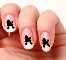 20 Nail Art Decals Transfers Stickers #508  Black Poodle  -  peel & stick