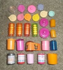 BARBIE KEN DOLL HOUSE KITCHEN DINING FOOD DISHES - ASSORTED CANISTERS & TOPS