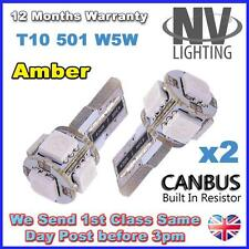 2 x 5 SMD LED AMBER T10 501 W5W CANBUS ERROR FREE INDICATOR REPEATER TURN BULB