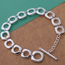 Ladies 925 Sterling Silver Fashion Casual Square Link T - Bar Bracelet / Bangle