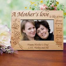 Personalized Mothers Day Picture Frame A Mother's Love Engraved Wood Photo Frame
