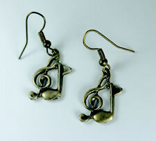 Music Note Treble Clef Symbol Sign Dangle Earrings Bronze Tone Gift Music Lover