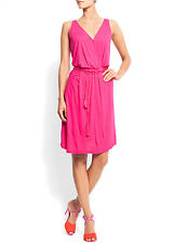 LADIES FUSHIA HOT PINK WRAP DRESS IN SIZE 10 FROM MANGO BNWT