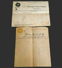 1895 & 1902 Antique Receipts Honey Clark Bainbridge Creamery & Cold Storage