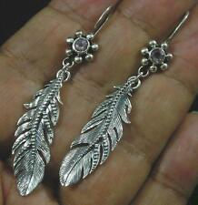 Vintage Style White Topaz .925 Sterling Silver Intricate Feather Earrings Hook