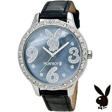 Playboy Watch Bunny Logo Blue Shell Face Swarovski Crystals Black Strap Licensed