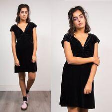WOMENS VINTAGE BLACK VELVET V-NECK RUCHED MINI DRESS 90'S GLAM GOING OUT 16