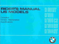 CD MANUALE USO-MANUTENZIONE-SERVIZIO OWNER'S MANUAL BMW R80 RT-R100 CS-RS-RT(EN)