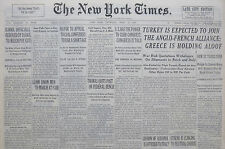 4-1939 WWII April 13 TURKEY IS EXPECTED TO JOIN ANGLO FRENCH ALLIENCE; GREECE IS