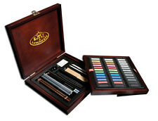 ARTIST PREMIER DELUXE SOFT PASTEL & VINE CHARCOAL PENCIL WOODEN CASE SET PAS1600