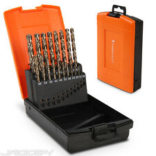 19pcs Twist Drills Spiral Bits with Plastic Case Drill Bits Steel HSS Cobalt Set