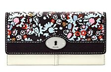 "FOSSIL MARLOW PRINTED LEATHER FLAP CLUTCH WALLET ""DARK FLORAL"" - NWT!"