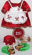Build A Bear Mrs Santa Claus Christmas Dress Hat Reindeer Slippers Outfit BABW