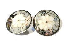 Bijou argent 925 boucles d'oreilles boutons argent et nacre Mexico earrings