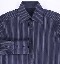 * GUCCI * Recent Gray/Black Striped Slim Fit Dress Shirt 15-34/35
