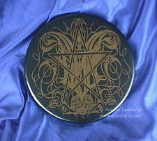GOTHIC ALTAR PENTACLE 200mm Wicca Pagan Witch Goth PRINTED WOODEN BLACK & GOLD